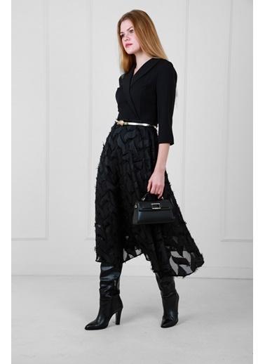 JEANNE D'ARC Kruvaze Yaka Eteği Yakma Yaprak Desenli Kemerli Elbise Siyah